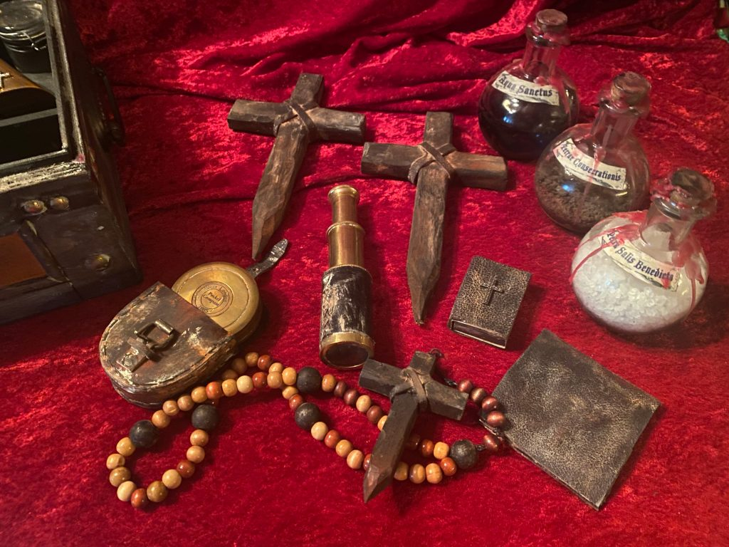 """Vampire Killing Kit Contents """"Antiqued"""" by the Artist, CRYSTOBAL."""