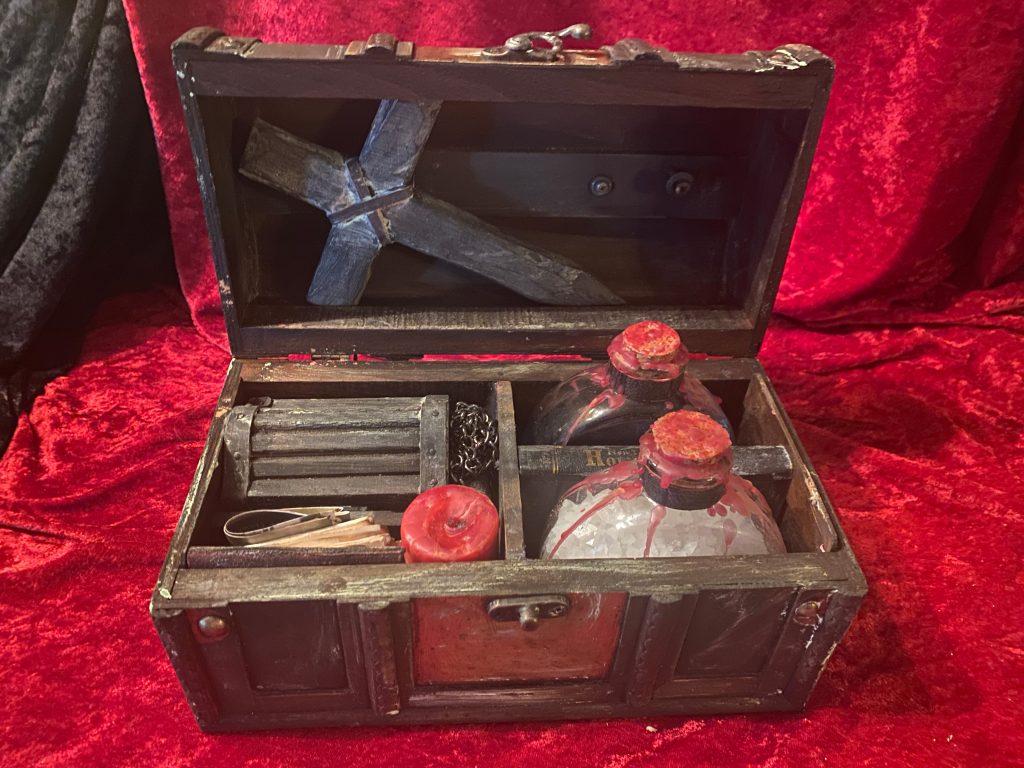 Vampire Killing Kit Nomi, 2021, contents include cross, holy water, garlic.
